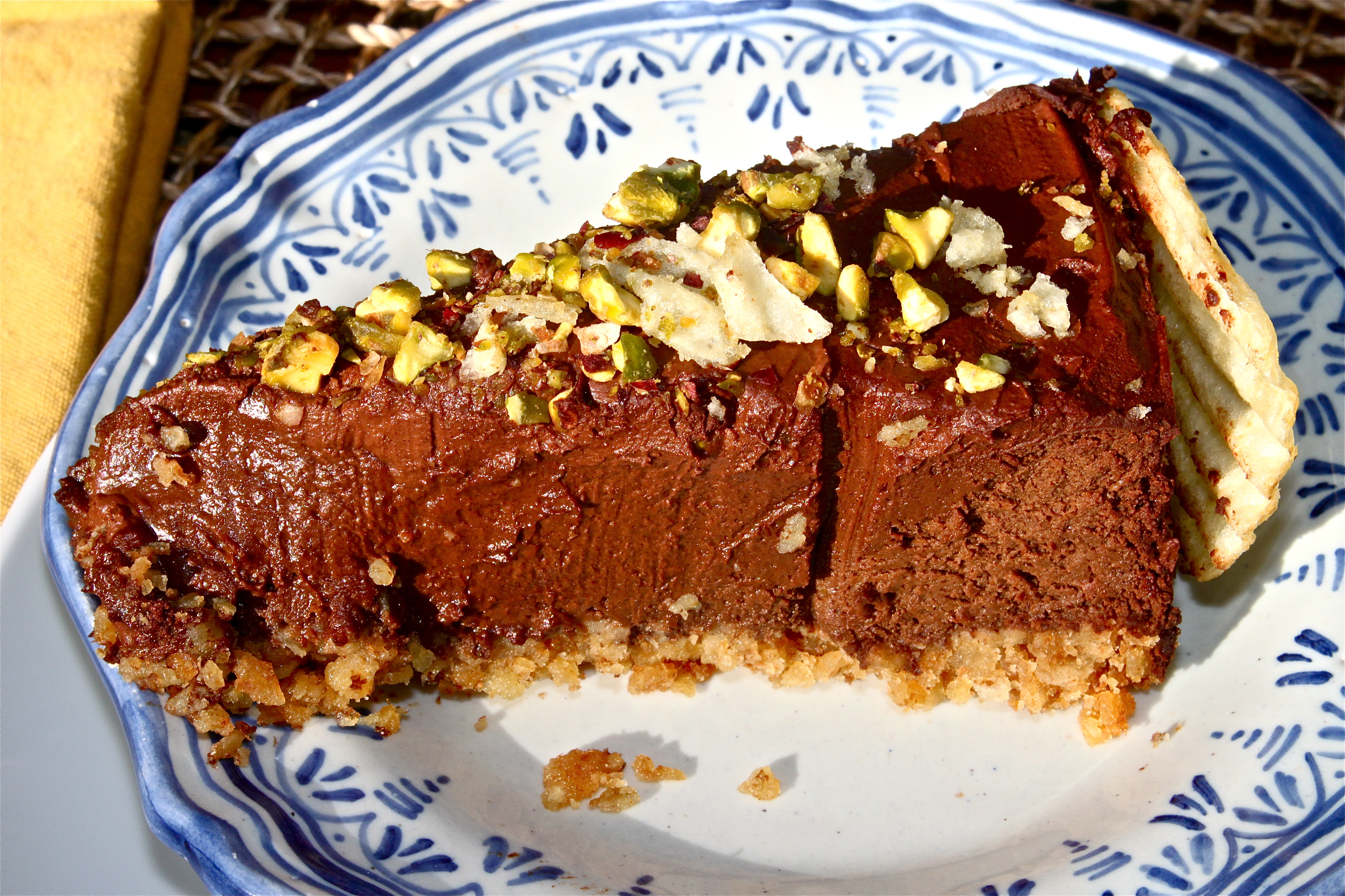 Flourless Dark Chocolate Cake with Pistachios and a Potato Chip Crust