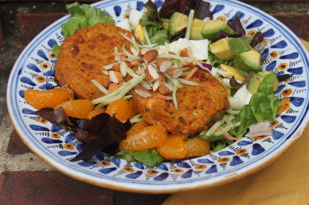 Lunch is two salmon cakes on this Asian Style Cobb Salad (recipe below)