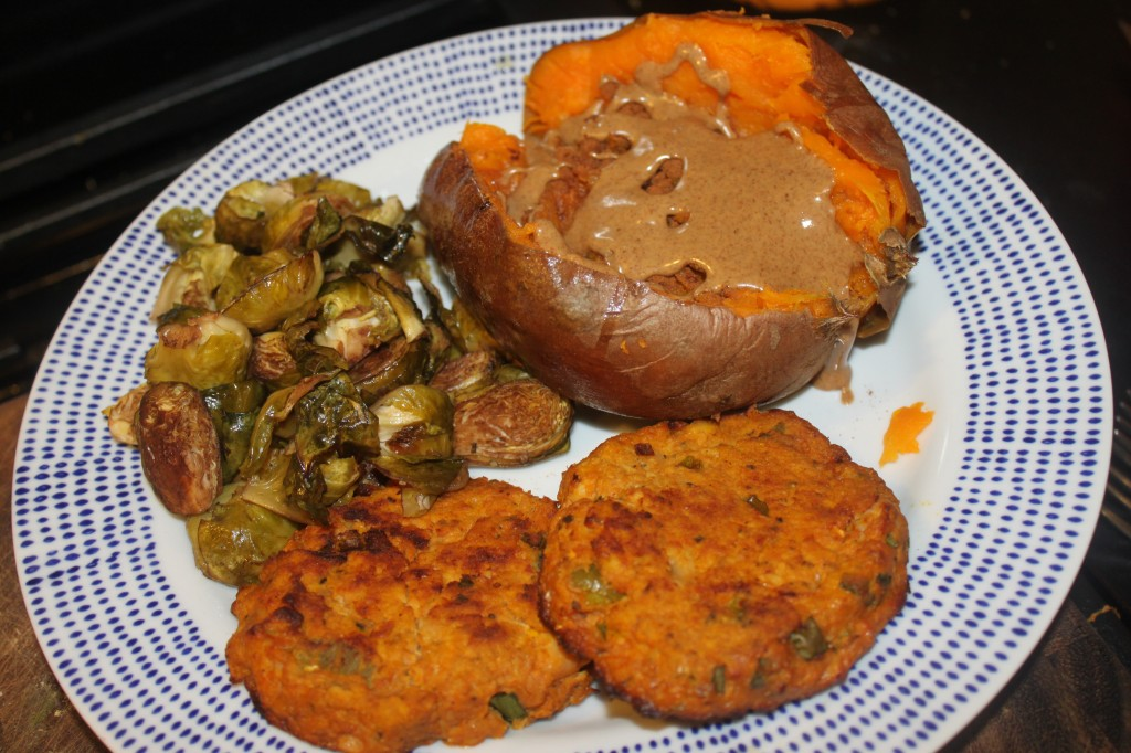 Supper is two salmon cakes with a baked sweet potato with almond butter and roasted Brussels sprouts (something else that I just don't ever get sick of!)