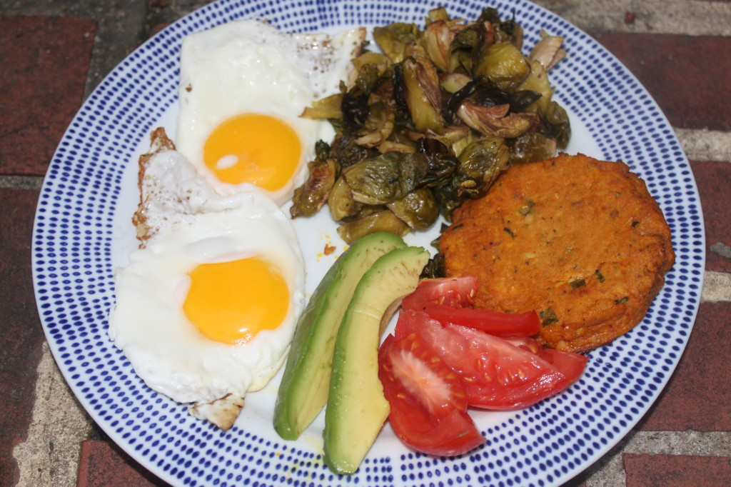 Breakfast is a salmon cake with fried eggs, avocado, tomato and roasted Brussels sprouts.  This was an awesome flavor combo!  You could even use two of them to make a breakfast sandwich!