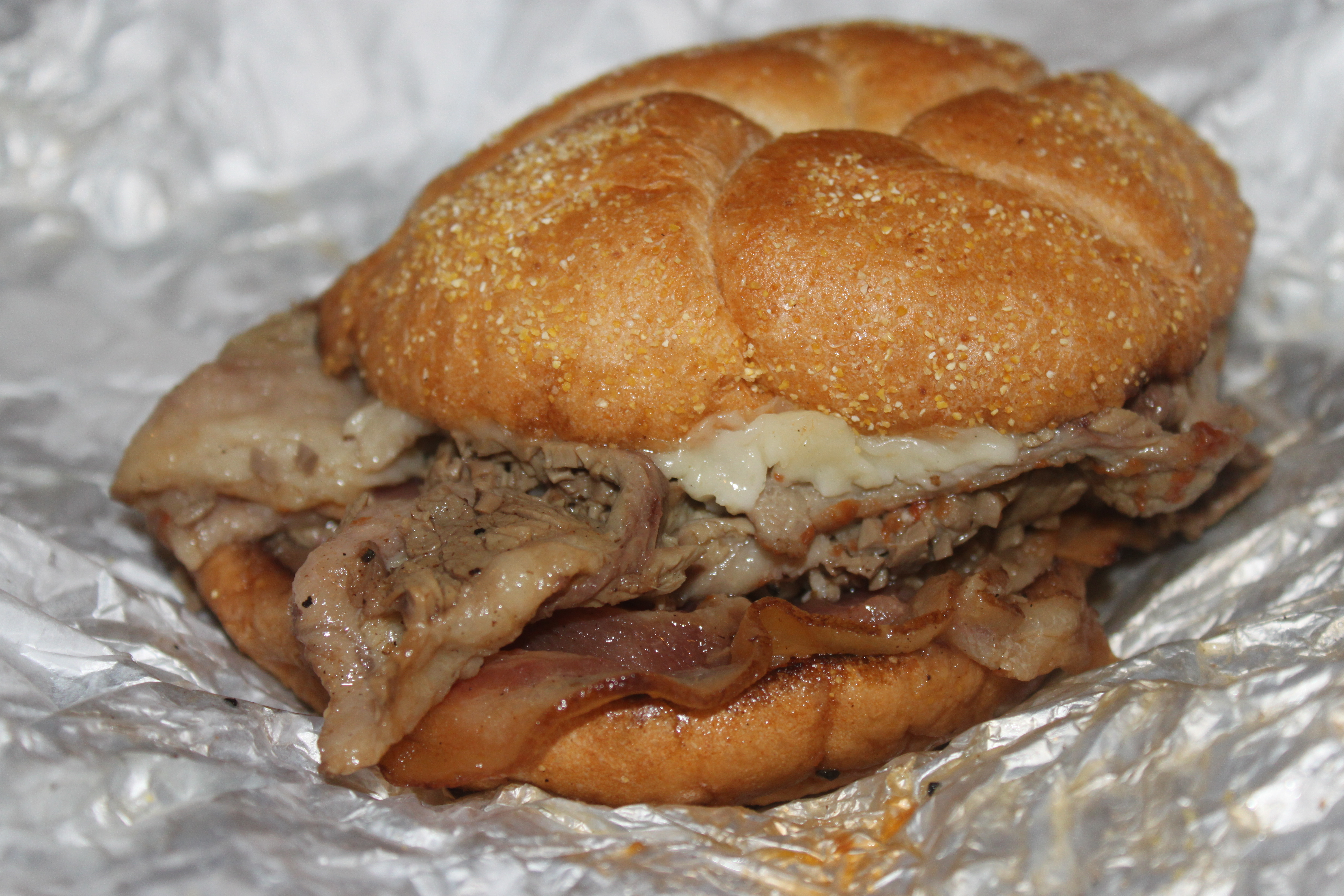 The Clogger: hot beef brisket, provolone, bacon, gravy, and mayonnaise ...