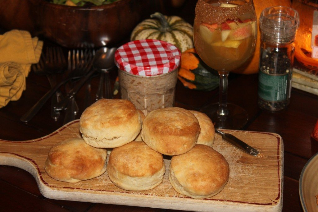 Rebekah's fluffy biscuits with homemade apple butter.