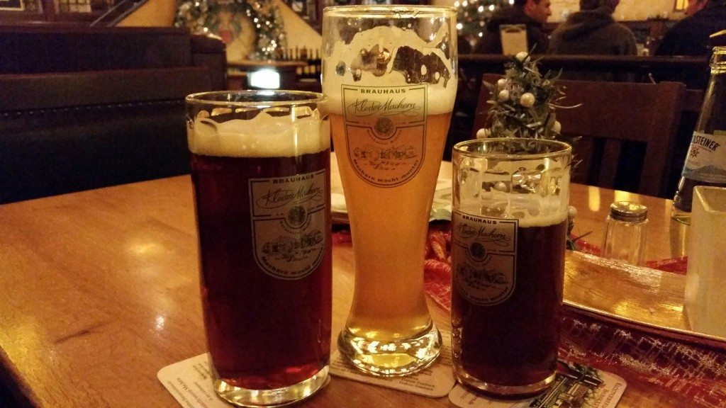 "First and foremost: Germany beer.  Thanks to Reinheitsgebot (the ""Germany Beer Purity Law"") German beers may only contain water, malt and hops.  This is a typical dark beer and a hefeweizen."