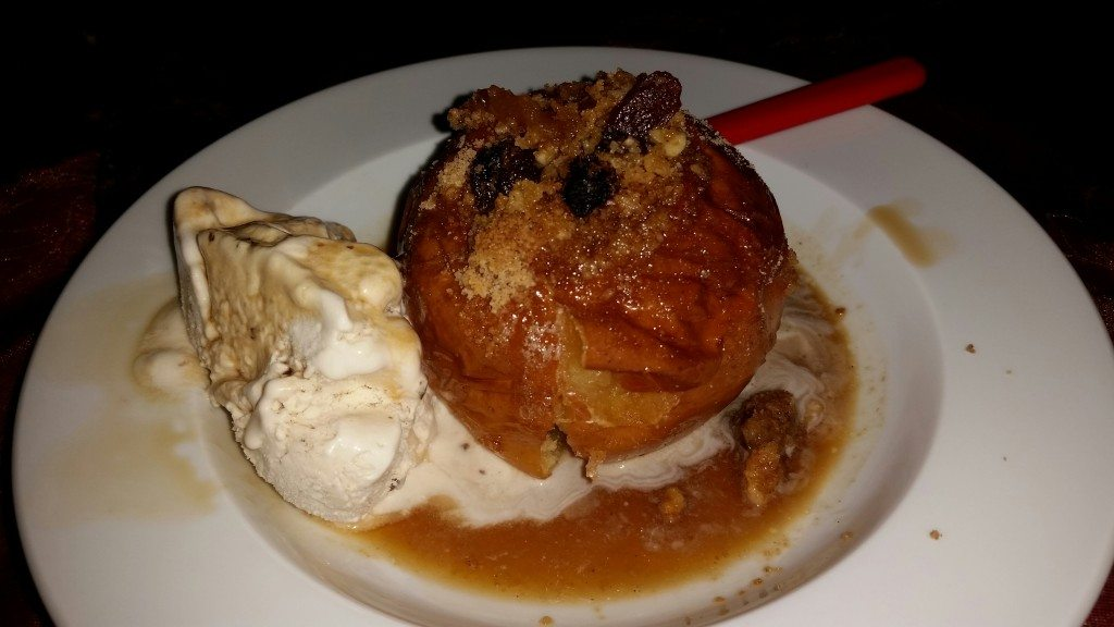 My recipeless attempt at a German Christmas dessert. Stuffed apple with a side of ice cream, topped with sweet (Spanish) sherry.