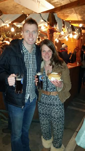 A bratwurst and beer in the Traben Trarbach cave Christmas market.