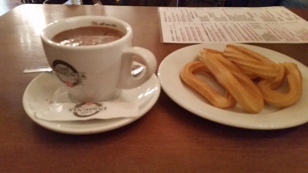Churros and chocolate.  Forever living in my memory more glorious than usually found in reality.