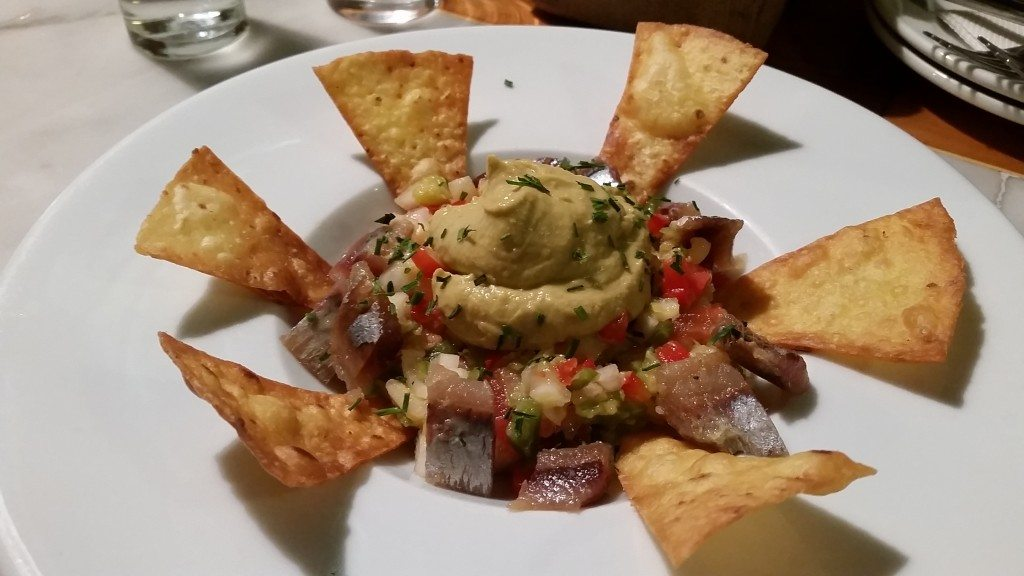 The most incredible sardine ceviche, garnished with avocado puree.