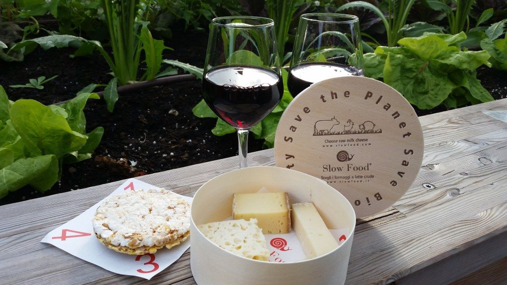 Wine and cheese at the slow food pavillion at the World Expo