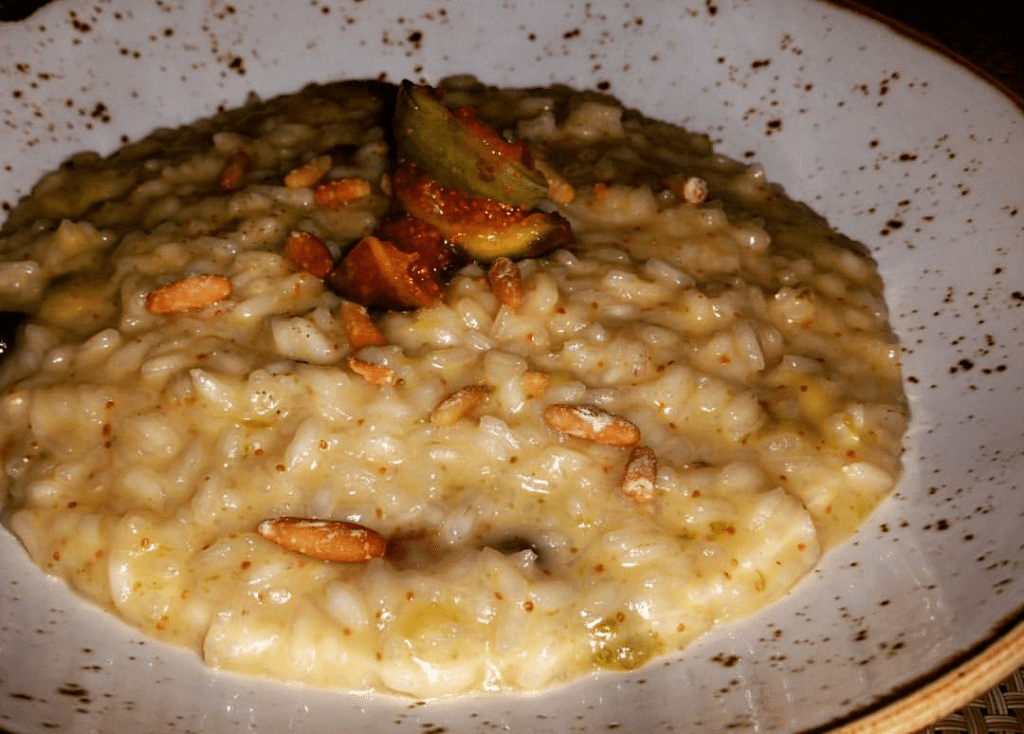 Fig and pine nut risotto.
