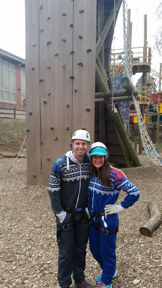 Valentines Day ropes course in our matching onesies!