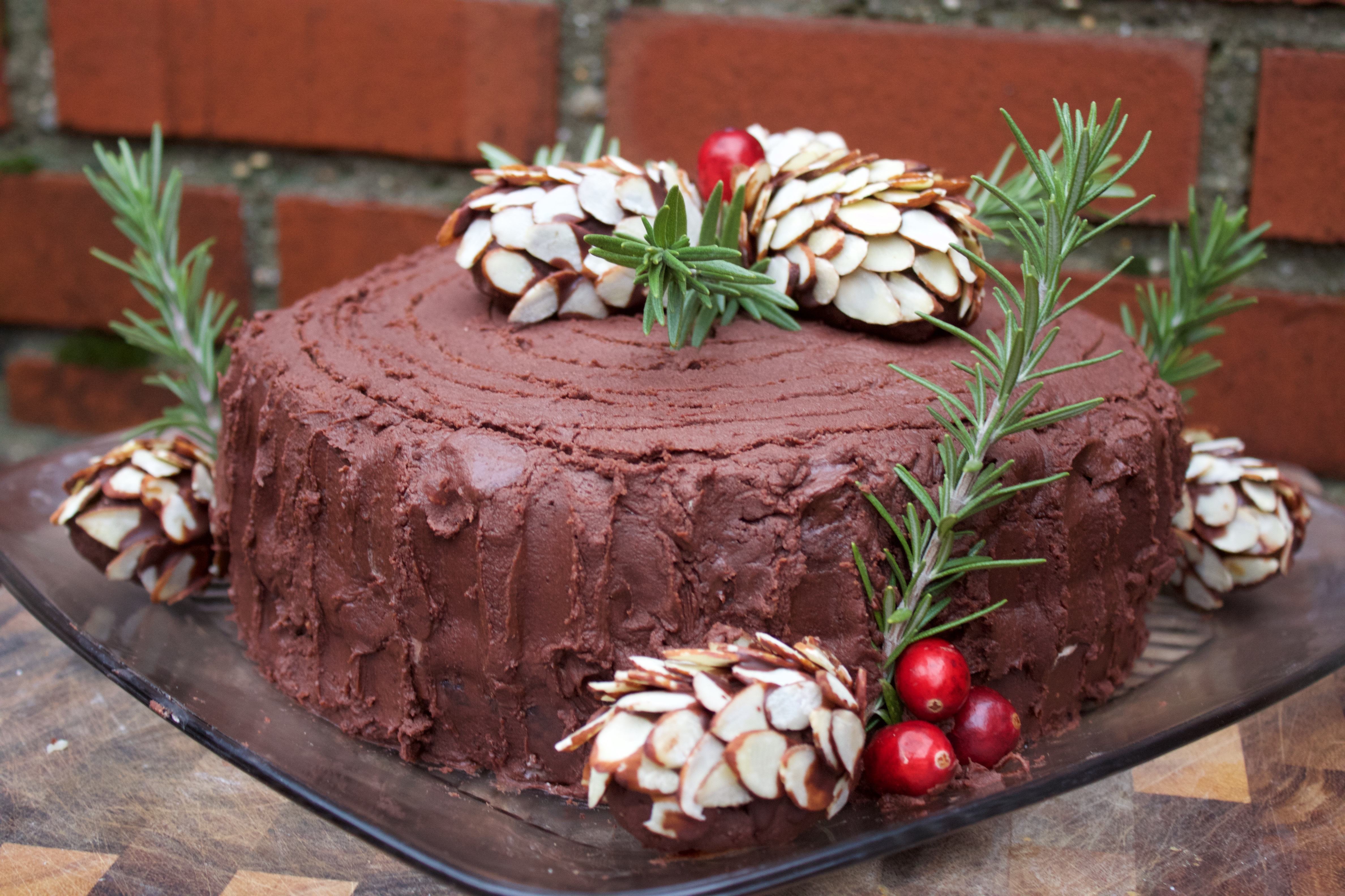 Black Forest Yule Stump Cake with Chocolate Pinecone Truffles ...